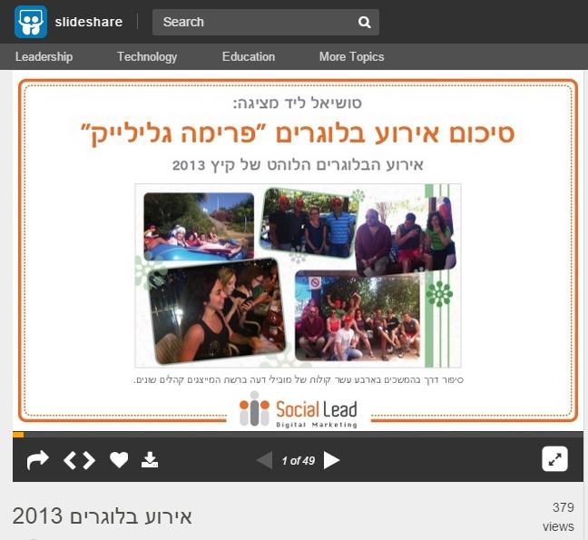 שיתוף מצגות ב - SlideShare לחיזוק המותג ולהגדלת החשיפה של מוצרים ושירותים שלך