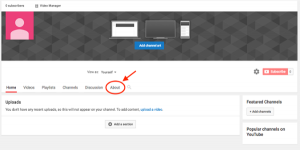 אודות העסק שלך ביוטיוב